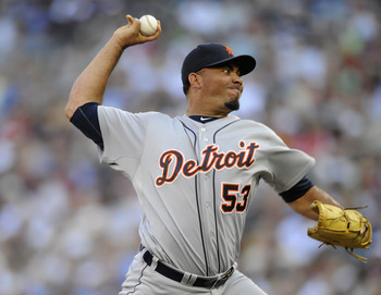MINNEAPOLIS, MN - JULY 24: Joaquin Benoit #53 of the Detroit Tigers delivers a pitch against the Minnesota Twins in the eighth inning on July 24, 2011 at Target Field in Minneapolis, Minnesota. The Tigers defeated the Twins 5-2. (Photo by Hannah Foslien/G