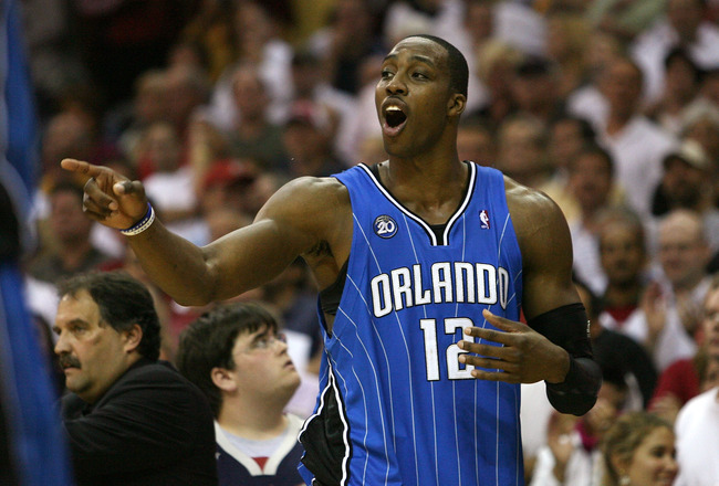 CLEVELAND - MAY 28:  Dwight Howard #12 of the Orlando Magic reacts after fouling out against the Cleveland Cavaliers in Game Five of the Eastern Conference Finals during the 2009 Playoffs at Quicken Loans Arena on May 28, 2009 in Cleveland, Ohio. NOTE TO