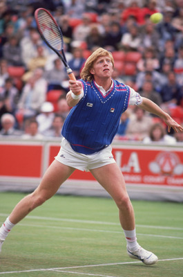 German tennis player Boris Becker competing in the Queen's Club Championships at the Queen's Club in West Kensington, London, June 1988. Becker won the men's singles competition. (Photo by Bob Martin/Getty Images)