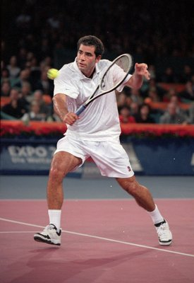 28 Nov 1999:  Pete Sampras of the USA in action during the ATP Tour World Championships at the EXPO 2000 venue in Hannover in Germany. \ Mandatory Credit: Clive Brunskill /Allsport