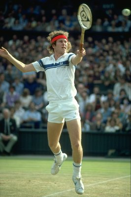 Jun 1981:  John McEnroe of the USA plays a backhand return during the Lawn Tennis Championships at Wimbledon in London. \ Mandatory Credit: Steve  Powell/Allsport