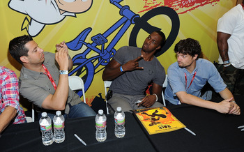 SAN DIEGO, CA - JULY 23:  Actor Charlie Schlatter, animator Sandro Corsaro, NBA basketball player Dwight Howard and actor Matt L. Jones attend Disney XD'S 'Kick Buttowski Suburban Daredevil' on July 23, 2011 in San Diego, California.  (Photo by Frazer Har