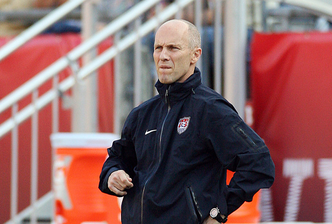 FOXBORO, MA - JUNE 4:  Head coach Bob Bradley of the United States watches from the sidelines as Spain beats his team 4-0 at Gillette Stadium on June 4, 2011 in Foxboro, Massachusetts. (Photo by Gail Oskin/Getty Images)