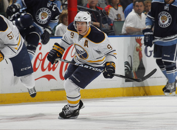 SUNRISE, FL - DECEMBER 17: Derek Roy #9 of the Buffalo Sabres skates through center ice against the Florida Panthers on December 17, 2010 at the BankAtlantic Center in Sunrise, Florida. The Panthers defeated the Sabres 6-2. (Photo by Joel Auerbach/Getty I