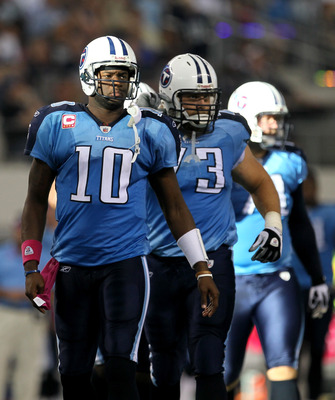 ARLINGTON, TX - OCTOBER 10:  Quarterback Vince Young #10 of the Tennessee Titans leads the offense onto the field after a turnover in the game against the Dallas Cowboys at Cowboys Stadium on October 10, 2010 in Arlington, Texas.   The Titans won 34-27.