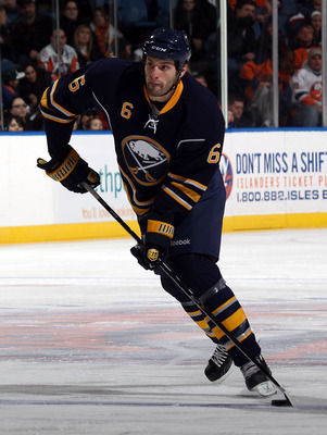 UNIONDALE, NY - JANUARY 23:  Mike Weber #6 of the Buffalo Sabres skates against the New York Islanders at the Nassau Coliseum on January 23, 2011 in Uniondale, New York. The Sabres won 5-3. (Photo by Bruce Bennett/Getty Images)
