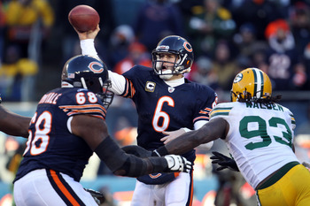 CHICAGO, IL - JANUARY 23:  Quarterback Jay Cutler #6 of the Chicago Bears throws the ball against the Green Bay Packers in the NFC Championship Game at Soldier Field on January 23, 2011 in Chicago, Illinois.  (Photo by Jonathan Daniel/Getty Images)