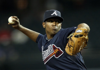 PHOENIX, AZ - MAY 18:  Starting pitcher Julio Teheran #43 of the Atlanta Braves pitches against the Arizona Diamondbacks during the Major League Baseball game at Chase Field on May 18, 2011 in Phoenix, Arizona.  (Photo by Christian Petersen/Getty Images)