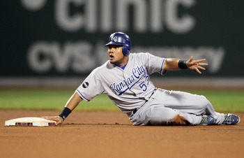BOSTON, MA - JULY 25:  Melky Cabrera #53 of the Kansas City Royals reacts after he is caught stealing second base in the first inning against the Boston Red Sox on July 25, 2011 at Fenway Park in Boston, Massachusetts.  (Photo by Elsa/Getty Images)