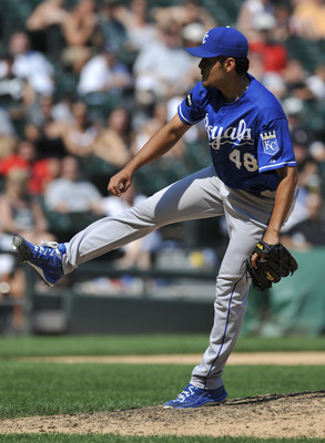 CHICAGO, IL - JULY 06:  Joakim Soria # 48 of the Kansas City Royals pitches in the ninth inning against the Chicago White Sox on July 6, 2011 at U.S. Cellular Field in Chicago, Illinois. The Royals defeated the White Sox 4-1  (Photo by David Banks/Getty I