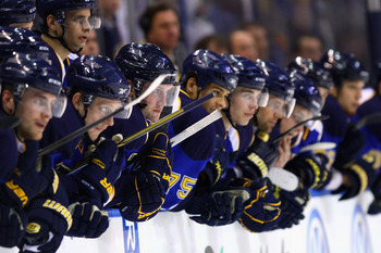 ST. LOUIS, MO - MARCH 29: Members of the St. Louis Blues wacth the pentalty shootout against the Minnesota Wild at the Scottrade Center on March 29, 2011 in St. Louis, Missouri.  (Photo by Dilip Vishwanat/Getty Images)