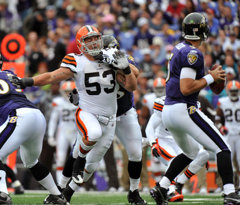 BALTIMORE - SEPTEMBER 26:  Matt Roth #53 of the Cleveland Browns defends against the Baltimore Ravens  at M&T Bank Stadium on September 26, 2010 in Baltimore, Maryland. The Ravens defeated the Browns 24-17. (Photo by Larry French/Getty Images)
