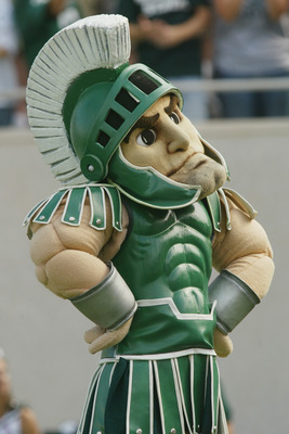 EAST LANSING, MI - SEPTEMBER 14:  'Sparty' the mascot of the Michigan State Spartans looks on during the game against the California Golden Bears on September 14, 2002 at Spartan Stadium in East Lansing, Michigan.  California defeated Michigan State 46-22