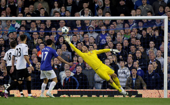 LIVERPOOL, ENGLAND - MARCH 19:  Mark Schwarzer of Fulham is unable to stop Seamus Coleman of Everton (not pictured) scoring the opening goal during the Barclays Premier League match between Everton and Fulham at Goodison Park on March 19, 2011 in Liverpoo