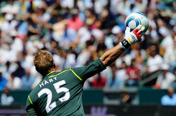 CARSON, CA - JULY 24:  Goalkeeper Joe Hart #25 of Manchester City against  Los Angeles Galaxy during the Herbalife World Football Challenge 2011 friendly soccer match at the Home Depot Center on July 24, 2011 in Carson, California  (Photo by Kevork Djanse