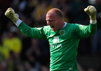 NORWICH, ENGLAND - APRIL 25:  John Ruddy of Norwich City in action during the npower Championship match between Norwich City and Derby County at Carrow Road on April 25, 2011 in Norwich, England.  (Photo by Jamie McDonald/Getty Images)