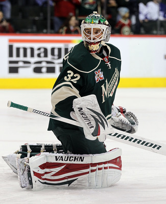 ST PAUL, MN - MARCH 22:  Niklas Backstrom #32 of the Minnesota Wild skates in warmups prior to the game against the Toronto Maple Leafs at the Xcel Energy Center on March 22, 2011 in St Paul, Minnesota.  (Photo by Bruce Bennett/Getty Images)