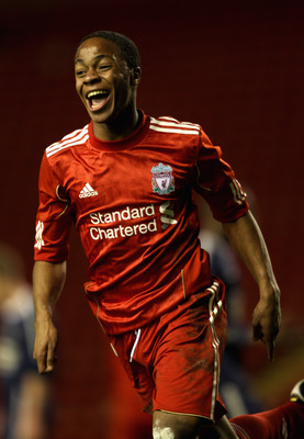 LIVERPOOL, ENGLAND - FEBRUARY 14:  Raheem Sterling of Liverpool celebrates after scoring his second goal during the FA Youth Cup match between Liverpool and Southend United at Anfield on February 14, 2011 in Liverpool, England.  (Photo by Clive Brunskill/