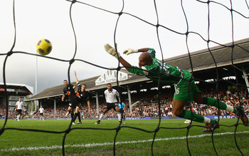 LONDON, ENGLAND - OCTOBER 30:  Clint Dempsey of Fulham scores his frist goal with a header past Wigan Goalkeeper, Ali Al Habsi during the Barclays Premier League match between Fulham and Wigan Athletic at Craven Cottage on October 30, 2010 in London, Engl