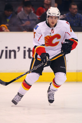 LOS ANGELES, CA - MARCH 21:  Brett Carson #3 of the Calgary Flames skates during warm-up prior to their NHL game against the Los Angeles Kings at Staples Center on March 21, 2011 in Los Angeles, California. The Kings defeated the Flames 2-1 in shootout ov