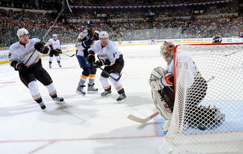 NASHVILLE, TN - APRIL 17:  Goalie Ray Emery #29 of the Anaheim Ducks watches a shot by Joel Ward #29 of the Nashville Predators go wide in Game Three of the Western Conference Quarterfinals during the 2011 NHL Stanley Cup Playoffs at the Bridgestone Arena