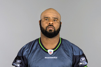 RENTON, WA - CIRCA 2010: In this handout image provided by the NFL, Leroy Hill of the Seattle Seahawks poses for his 2010 NFL headshot circa 2010 in Renton, Washington. (Photo by NFL via Getty Images)