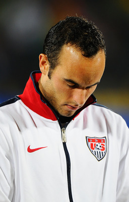 RUSTENBURG, SOUTH AFRICA - JUNE 26: Landon Donovan of the United States looks down prior to the 2010 FIFA World Cup South Africa Round of Sixteen match between USA and Ghana at Royal Bafokeng Stadium on June 26, 2010 in Rustenburg, South Africa.  (Photo b