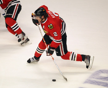 CHICAGO, IL - APRIL 19: Duncan Keith #2 of the Chicago Blackhawks shoots the puck against the Vancouver Canucks in Game Four of the Western Conference Quarterfinals during the 2011 NHL Stanley Cup Playoffs at the United Center on April 19, 2011 in Chicago