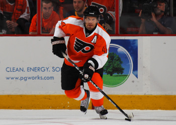 PHILADELPHIA, PA - APRIL 22:  Kimmo Timonen #44 of the Philadelphia Flyers controls the puck against the Buffalo Sabres in Game Five of the Eastern Conference Quarterfinals during the 2011 NHL Stanley Cup Playoffs at Wells Fargo Center on April 22, 2011 i