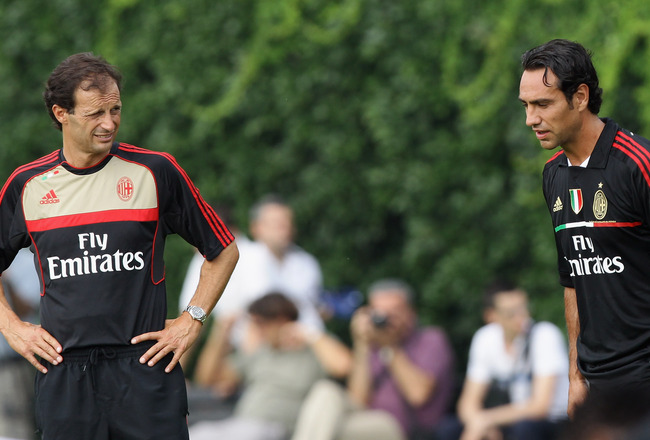 SOLBIATE ARNO, ITALY - JULY 12: Massimiliano Allegri (L) and Alessandro Nesta (R) in action during a training session at Milanello on July 12, 2011 in Solbiate Arno, Italy.  (Photo by Vittorio Zunino Celotto/Getty Images)