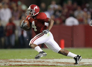 TUSCALOOSA, AL - OCTOBER 16:  Marquis Maze #4 of the Alabama Crimson Tide against the Ole Miss Rebels at Bryant-Denny Stadium on October 16, 2010 in Tuscaloosa, Alabama.  (Photo by Kevin C. Cox/Getty Images)