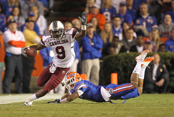 GAINESVILLE, FL - NOVEMBER 13:  Ace Sanders #9 of the South Carolina Gamecocks rushes during a game against the Florida Gators at Ben Hill Griffin Stadium on November 13, 2010 in Gainesville, Florida.  (Photo by Mike Ehrmann/Getty Images)