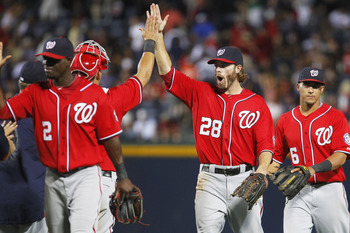 ATLANTA, GA - JULY 16: Jayson Werth #28 of the Washington Nationals celebrates a win against the Atlanta Braves on July 16, 2011 at Turner Field in Atlanta, Georgia. (Photo by Daniel Shirey/Getty Images)