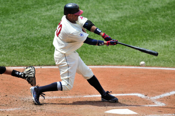 CLEVELAND, OH - JULY 24: Orlando Cabrera #20 of the Cleveland Indians swings and misses during the third inning against the Chicago White Sox at Progressive Field on July 24, 2011 in Cleveland, Ohio. (Photo by Jason Miller/Getty Images)