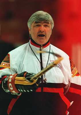 6 JUN 1994:  CANUCKS PRESIDENT, GENERAL MANAGER AND COACH PAT QUINN CONDUCTS TEAM WORKOUTS AT THE PACIFIC COLESIUM IN VANCOUVER, BRITISH COLUMBIA.  THE CANUCKS ARE PREPARING FOR GAME FOUR OF THE STANLEY CUP FINALS AGAINST THE NEW YORK RANGERS.   Mandatory