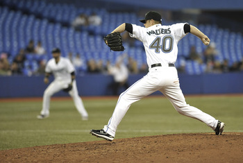 TORONTO, CANADA - JULY 28:  P.J. Walters #40 of the Toronto Blue Jays delivers a pitch during MLB game action against the Baltimore Orioles July 28, 2011 at Rogers Centre in Toronto, Ontario, Canada. (Photo by Brad White/Getty Images)