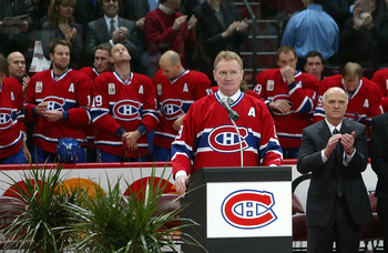 MONTREAL - NOVEMBER 19:  Former Montreal Canadien Larry Robinson #19 addresses the crowd durring a pre-game ceremony where the Montreal Canadiens retired his #19 prior to the Montreal Canadiens playing the Ottawa Senators during their NHL game at the Bell