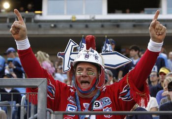 NASHVILLE, TN - NOVEMBER 15:Tennessee Titans fans cheer for their team against the Buffalo Bills in their NFL game at LP Field on November 15, 2009 in Nashville, Tennessee.    (Photo by John Sommers II/Getty Images)
