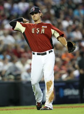 PHOENIX, AZ - JULY 10:  U.S. Futures All-Star Will Middlebrooks #16 of the Boston Red Sox throws the ball to first base during the 2011 XM All-Star Futures Game at Chase Field on July 10, 2011 in Phoenix, Arizona.  (Photo by Christian Petersen/Getty Image