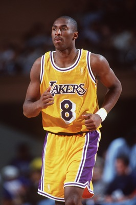 16 Oct 1996:  Kobe Bryant of the Los Angeles Lakers runs up court during a 90-80 win over the Dallas Mavericks at Selland Arena in Fresno, California.  Mandatory Credit: Todd Warshaw/Allsport