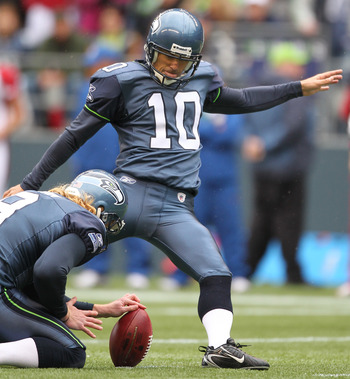 SEATTLE - OCTOBER 24:  Kicker Olindo Mare #10 of the Seattle Seahawks kicks a field goal against the Arizona Cardinals at Qwest Field on October 24, 2010 in Seattle, Washington. (Photo by Otto Greule Jr/Getty Images)