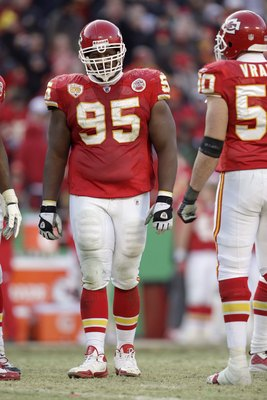 KANSAS CITY, MO - DECEMBER 20:  Ron Edwards #95 of the Kansas City Chiefs looks on during their NFL game against the Cleveland Browns on December 20, 2009 at Arrowhead Stadium in Kansas City, Missouri. The Browns defeated the Chiefs 41-34. (Photo by Jamie