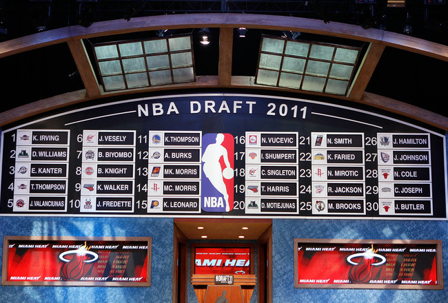 NEWARK, NJ - JUNE 23:  A general view of the names on the draft board after the completion of the first round during the 2011 NBA Draft at the Prudential Center on June 23, 2011 in Newark, New Jersey.  NOTE TO USER: User expressly acknowledges and agrees