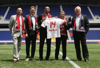 HARRISON, NJ - JULY 15:  (L-R) MLS Commisioner Don Garber, Head of Red Bull Global Soccer Dietmar Beiersdorfer, Thierry Henry, Managing Director Erik Soler and Head Coach Hans Backe pose for a photo on July 15, 2010 at Red Bull Arena in Harrison, New Jers