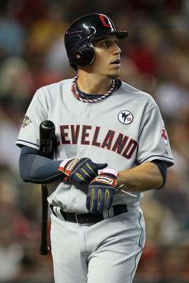PHOENIX, AZ - JULY 12:  American League All-Star Asdrubal Cabrera #13 of the Cleveland Indians reacts after striking out in the first inning of the 82nd MLB All-Star Game at Chase Field on July 12, 2011 in Phoenix, Arizona.  (Photo by Jeff Gross/Getty Ima