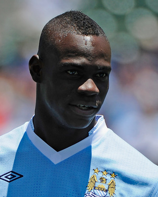 CARSON, CA - JULY 24:  Mario Balotelli #45 of Manchester City against  Los Angeles during the Herbalife World Football Challenge 2011 at the Home Depot Center on July 24, 2011 in Carson, California.  (Photo by Kevork Djansezian/Getty Images)