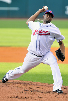 CLEVELAND, OH - JULY 25: Starting pitcher Fausto Carmona #55 of the Cleveland Indians pitches during the first inning against the Los Angeles Angels at Progressive Field on July 25, 2011 in Cleveland, Ohio. (Photo by Jason Miller/Getty Images)