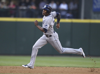 SEATTLE - JULY 29:  B.J. Upton #2 of the Tampa Bay Rays advances to third base in the second inning against the Seattle Mariners at Safeco Field on July 29, 2011 in Seattle, Washington. The Rays defeated the Mariners 8-0. (Photo by Otto Greule Jr/Getty Im