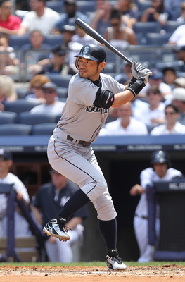 NEW YORK, NY - JULY 27:  Ichiro Suzuki #51 of the Seattle Mariners against the New York Yankees on July 27, 2011 at Yankee Stadium in the Bronx borough of New York City.  (Photo by Nick Laham/Getty Images)