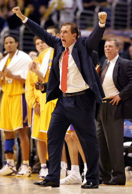 LOS ANGELES - JANUARY 13: Head coach Rudy Tomjanovich of the Los Angeles Lakers celebrates his team's victory over the Cleveland Cavaliers on January 13, 2005 at Staples Center in Los Angeles, California. The Lakers defeated the Cavs 98-94.  NOTE TO USER: